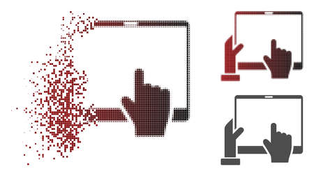 Hand points PDA icon in dispersed, dotted halftone and undamaged solid versions. Illustration