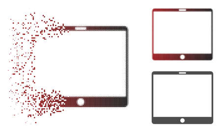 Mobile tablet icon in dissolved, dotted halftone and undamaged solid versions. Particles are composed into vector disappearing mobile tablet icon. Ilustrace