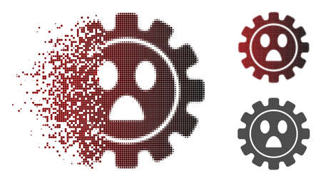 Gear wonder smiley icon in sparkle, pixelated halftone and undamaged entire variants. Elements are composed into vector dissolving gear wonder smiley icon.