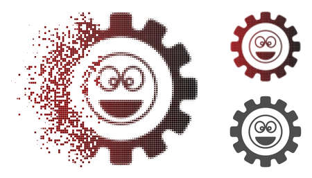 Options gear laugth smiley icon in dispersed, dotted halftone and undamaged entire versions. Fragments are composed into vector disappearing options gear laugth smiley icon.