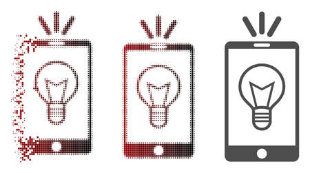 Mobile lamp light icon in sparkle, pixelated halftone and undamaged entire variants. Cells are composed into vector disappearing mobile lamp light icon.