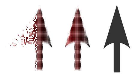 Arrow axis y icon in dispersed, dotted halftone and undamaged solid variants. Particles are organized into vector dispersed arrow axis y pictogram.
