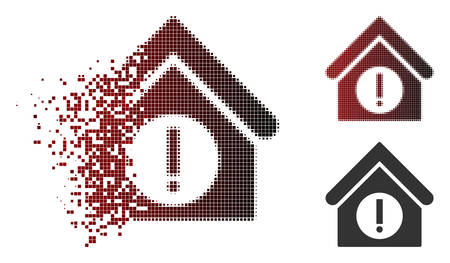 Danger building icon in dispersed, pixelated halftone and undamaged entire versions. Elements are composed into vector dispersed danger building icon.