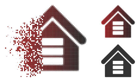 Data center building icon in dispersed, dotted halftone and undamaged solid versions. Particles are combined into vector dissipated data center building form.
