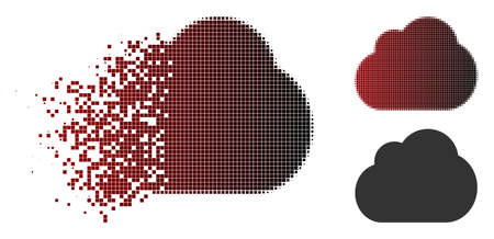 Cloud icon in sparkle, dotted halftone and undamaged solid versions. Fragments are grouped into vector sparkle cloud icon. Ilustrace