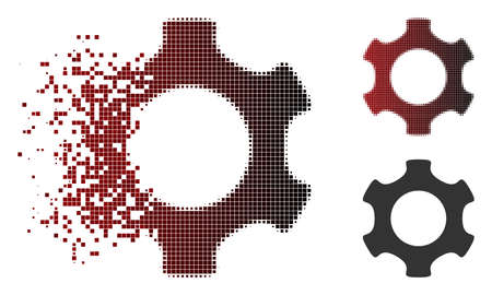 Gear icon in dissolved, dotted halftone and undamaged solid variants. Particles are grouped into vector disappearing gear icon. Illustration