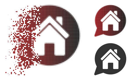 House mention icon in fractured, dotted halftone and undamaged whole variants. Pixels are combined into vector dissipated house mention icon. Illusztráció