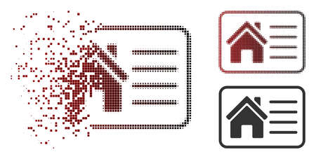 House info card icon in fractured, dotted halftone and undamaged solid variants. Particles are grouped into vector disappearing house info card form.