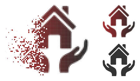 House care hands icon in sparkle, dotted halftone and undamaged entire variants. Particles are combined into vector sparkle house care hands icon.