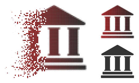 Library building icon in sparkle, dotted halftone and undamaged solid variants. Fragments are combined into vector disappearing library building icon. Çizim