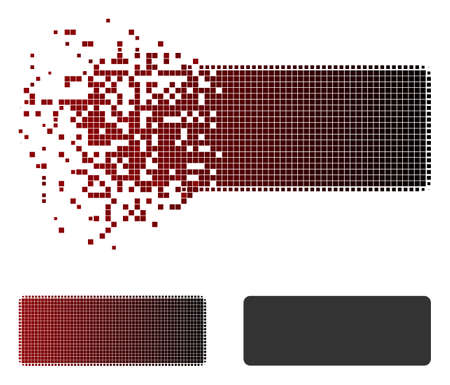 Minus icon in dispersed, dotted halftone and undamaged whole variants. Cells are combined into vector dispersed minus icon.