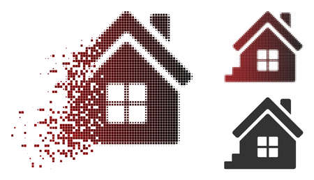 House porch icon in dissolved, pixelated halftone and undamaged entire versions. Pieces are organized into vector dissipated house porch icon.