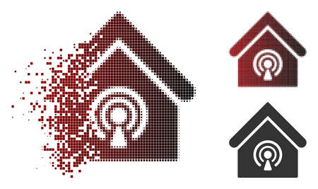 Radio station icon in dispersed, dotted halftone and undamaged entire variants. Cells are grouped into vector dispersed radio station icon. Ilustração
