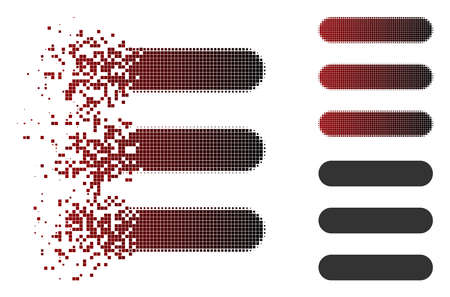 Stack icon in fractured, dotted halftone and undamaged solid versions. Particles are composed into vector disappearing stack symbol.