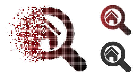 Search house icon in dispersed, dotted halftone and undamaged entire variants. Elements are combined into vector dispersed search house form.