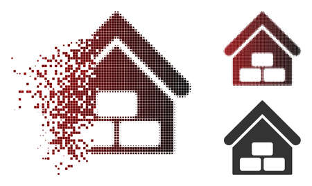 Warehouse icon in dispersed, pixelated halftone and undamaged whole versions. Pieces are organized into vector sparkle warehouse icon.
