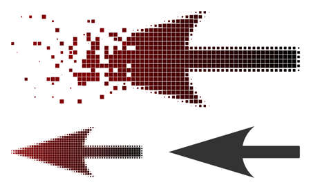 Sharp left arrow icon in sparkle, pixelated halftone and undamaged whole variants. Particles are composed into vector sparkle sharp left arrow form. Vectores