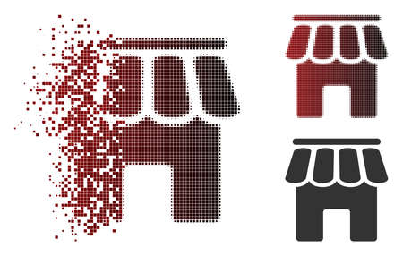 Shop building icon in dispersed, pixelated halftone and undamaged solid versions. Particles are composed into vector disappearing shop building icon.