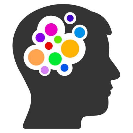 Vector creative brain illustration. An isolated illustration on a white background. Illustration