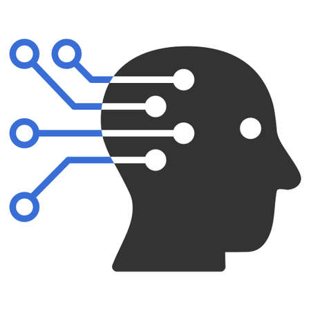 Vector cyborg brain interface circuit illustration. An isolated illustration on a white background.