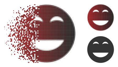 Glad smiley icon in fractured, dotted halftone and undamaged whole versions. Particles are composed into vector sparkle glad smiley figure.