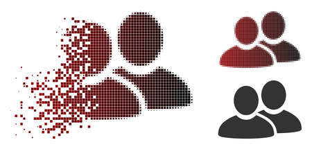 Men icon in dispersed, pixelated halftone and undamaged solid variants. Fragments are grouped into vector dispersed men icon.