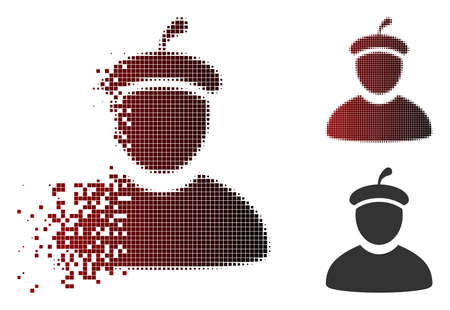 Artist icon in dispersed, pixelated halftone and undamaged entire variants. Particles are arranged into vector disappearing artist form.
