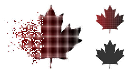 Maple leaf icon in sparkle, dotted halftone and undamaged entire versions. Points are organized into vector sparkle maple leaf figure. Illusztráció