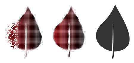 Plant leaf icon in sparkle, pixelated halftone and undamaged entire versions. Pieces are grouped into vector sparkle plant leaf icon.
