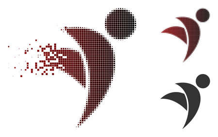 Winged man icon in sparkle, dotted halftone and undamaged whole versions. Pieces are arranged into vector disappearing winged man icon.
