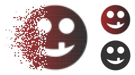 Toothless smiley icon in fractured, pixelated halftone and undamaged entire versions. Pixels are grouped into vector sparkle toothless smiley icon. Illustration
