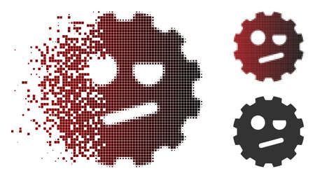 Negation smiley gear icon in sparkle, dotted halftone and undamaged solid versions. Particles are arranged into vector sparkle negation smiley gear figure.