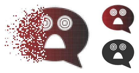 Afraid smiley message icon in dissolved, pixelated halftone and undamaged entire variants. Particles are arranged into vector dissipated afraid smiley message symbol.