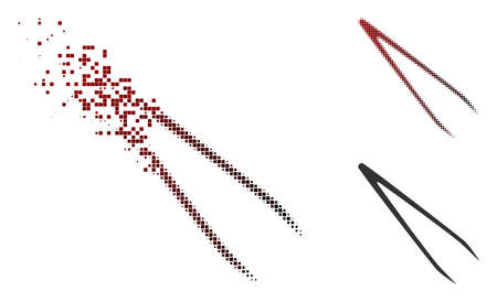 Tweezers icon in dissolved, pixelated halftone and undamaged solid versions. Points are composed into vector disappearing tweezers symbol.