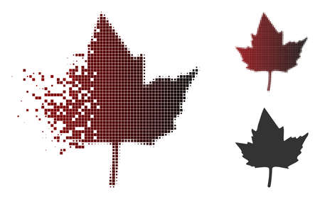 Currant leaf icon in dispersed, dotted halftone and undamaged whole variants. Pixels are grouped into vector dissolving currant leaf icon.