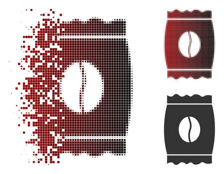 Coffee bean pack icon in dispersed, dotted halftone and undamaged solid versions. Points are arranged into vector dispersed coffee bean pack pictogram. Иллюстрация