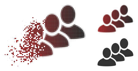 Customer queue icon in sparkle, pixelated halftone and undamaged entire variants. Particles are grouped into vector sparkle customer queue figure.