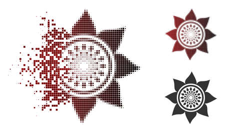 Sunflower flower icon in dispersed, pixelated halftone and undamaged entire versions. Pieces are grouped into vector dispersed sunflower flower pictogram.