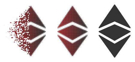 Ethereum classic icon in dispersed, dotted halftone and undamaged entire variants. Points are organized into vector dispersed Ethereum classic icon.