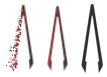Tweezers icon in sparkle, pixelated halftone and undamaged whole versions. Elements are grouped into vector sparkle tweezers shape.