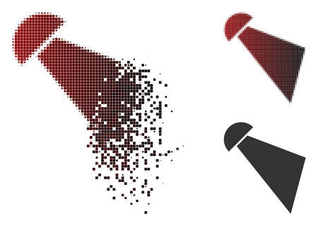 Searchlight beam icon in sparkle, dotted halftone and undamaged solid variants. Elements are composed into vector sparkle searchlight beam icon.