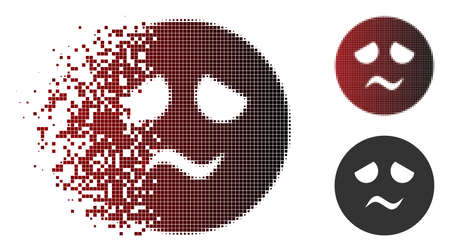 Trouble smiley icon in dispersed, dotted halftone and undamaged whole versions. Points are combined into vector dispersed trouble smiley figure.