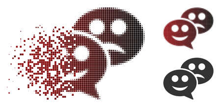 Emotion chat messages icon in dispersed, dotted halftone and undamaged solid versions. Pieces are arranged into vector disappearing emotion chat messages pictogram.