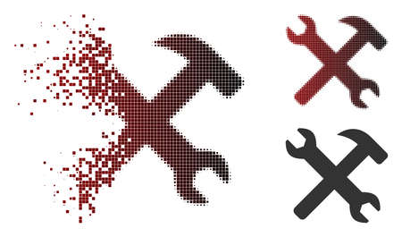 Wrench and hammer tools icon in dissolved, pixelated halftone and undamaged solid variants. Cells are composed into vector dissipated wrench and hammer tools icon.