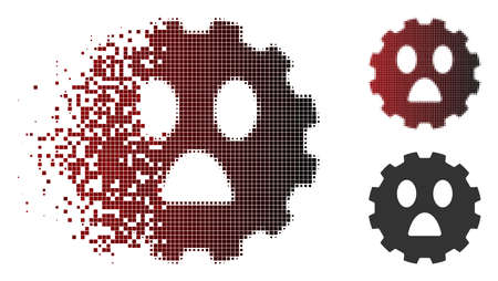 Fear smiley gear icon in dispersed, pixelated halftone and undamaged whole versions. Cells are organized into vector dispersed fear smiley gear icon.