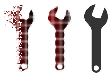 Wrench icon in sparkle, pixelated halftone and undamaged solid versions. Pixels are combined into vector disappearing wrench icon.