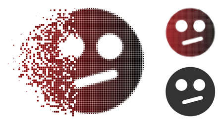 Indifferent smiley icon in sparkle, pixelated halftone and undamaged entire versions. Particles are combined into vector disappearing indifferent smiley figure.