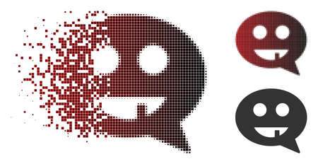 Toothless smiley message icon in dispersed, pixelated halftone and undamaged entire variants. Elements are grouped into vector disappearing toothless smiley message form.