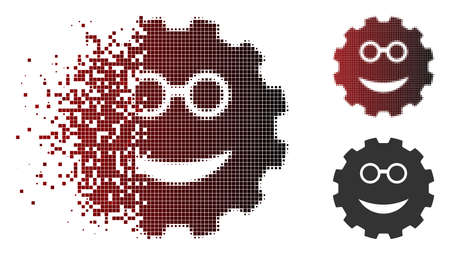 Clever smiley gear icon in sparkle, dotted halftone and undamaged entire variants. Cells are combined into vector disappearing clever smiley gear icon.