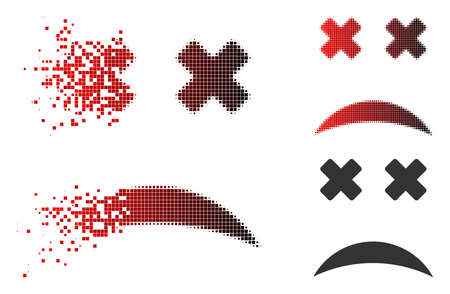 Blind smiley icon in dissolved, dotted halftone and undamaged whole variants. Particles are grouped into vector dissipated blind smiley icon.